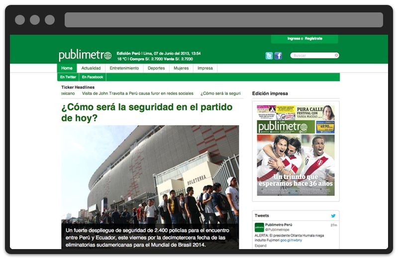 Publimetro, the first HTML5 news site in Peru, designed by Lúcuma labs